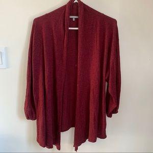 Cassis balloon sleeve burgundy open front cardigan